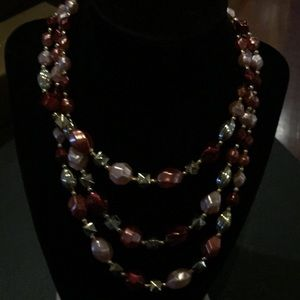 Pink and silver pearl three strands necklace